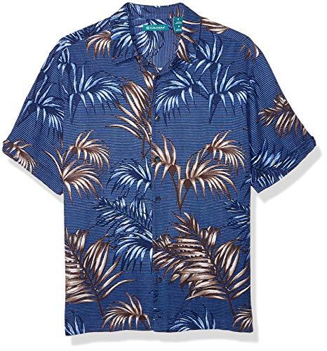 Cubavera Men's Tropical Leaf Print Short Sleeve Button Down Shirt, Dress Blues, Medium