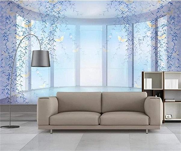 VIXI Stickers muraux Papier Peint 3D Murale Salon Canapé Tv Fond Papier Peint Pourpre Rêve de Rêve Peinture Décoration de La Maison Art Decal Mural,250  175cm,