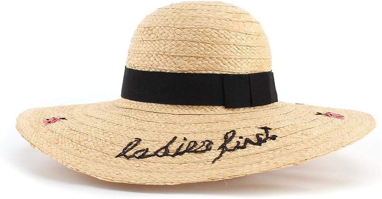 Sun Hat Lafite Hat Ladies Hand-Embroidered Ladybug Lafite Big Along Ladies Summer Sunscreen