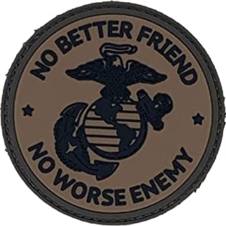 PatchOps No Better Friend No Worse Enemy EGA USMC PVC Tactical Morale Uniform Patch - Hook Back (OD Green)