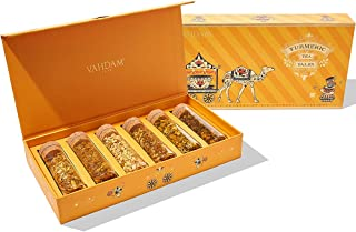 VAHDAM, Turmeric Herbal Tea, Assorted Tea Gift Set - 6 Superfood Blends (75 Cups), Christmas Holiday Gifts ...