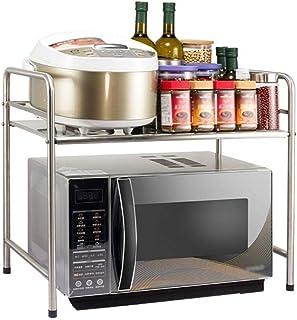 HYYDP Mensole Mensola Forno a microonde Cucina 2 Livello Metal Shelf controsoffitto della Cucina Bagagli Rack Multistrato griglia Forno Color : Silver, Size : 50CM*30CM*50CM