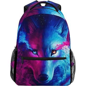 Laptop Backpack Wolf Head Printed High School Bookbag Casual Travel Daypack