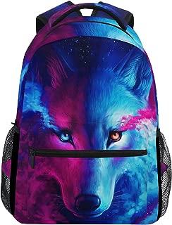 ZZKKO Animal Wolf Colorful Boys Girls School Computer Backpacks Book Bag Travel Hiking Camping Daypack
