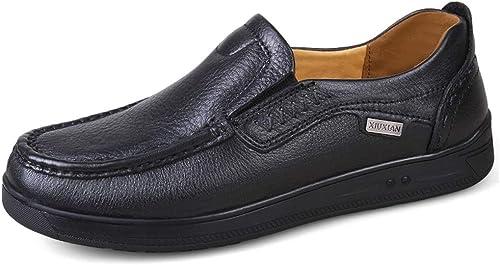 Easy Go Shopping Chaussures Richelieu pour Hommes Chaussures habillées à Enfiler en Cuir de Style rétro avec Bout Rond et Poids léger Chaussures de Cricket (Couleur   Noir, Taille   47 EU)