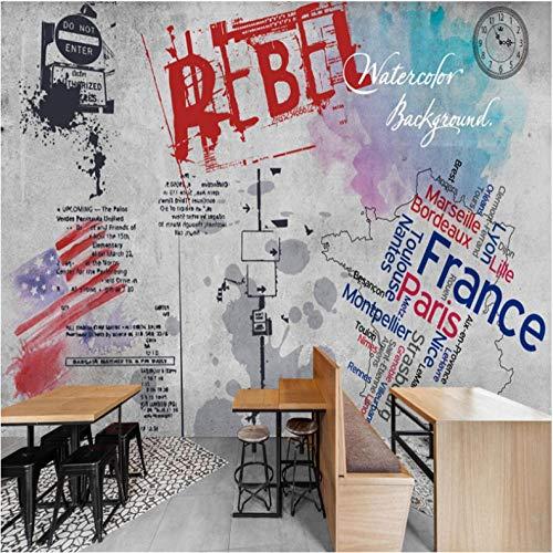 ponana Dekorations-Wandstraßen-Graffiti-Betonmauer Grey Wallpaper Wallpaper Bedroom3d-350X250CM