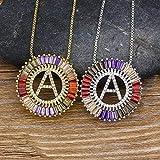BGIUHFW Oro Plata Color Cubic Zirconia 26 Carta Colgante Collar Inicial Nombre de la Moda Collar Collar de joyería para Mujer-C_Oro