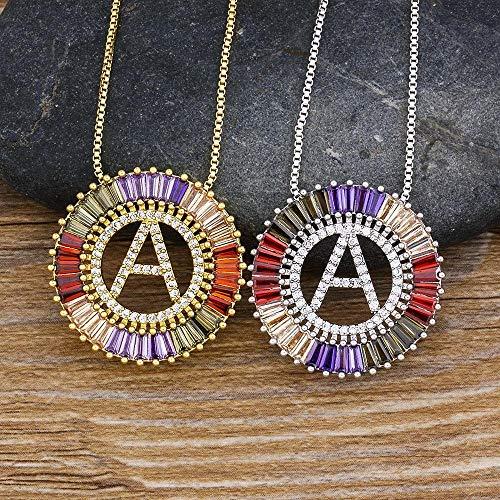 BGIUHFW gouden zilveren kleur zirkonia 26 brievenhanger initiaal halsketting fashion naam halsketting sieraad halsketting voor vrouwen goud