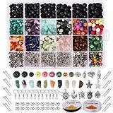 Hongyans 1068 Stück Lavastein Perlen Set Unregelmäßige Chip Edelsteine Perlen Natürliche Edelstein Lose Perlen Schmuckherstellung Set für Ohrringe Halskette Armbänder Selber Machen Mädchen Frauen