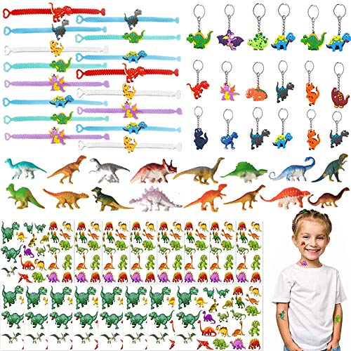 Dinosaur Party Supplies Set, 64 pct Dinosaur Birthday Favors Packs Including, Bracelets, Tattoos, Keychains, Toy, Dinosaur Decorations Pinata Candy Gift for Kids Boys
