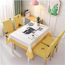 GUOCU Mantel Rectangular Impermeable Antimanchas Algodón Lino Mantel de Mesa Decoración para Cocina Comedor Fiesta Mantel Silla Juego de Tela Gato Manchado Seis Fundas para sillas