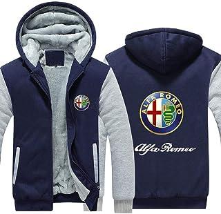Regalo Teenager White-XXXXL Outwear Uomo con Cappuccio Felpa Nuova Alfa Romeo Stampa Casuale Uniformi-Inverno Caldo con Cappuccio di Baseball Zip con Cappuccio Lunghe Giacche Manica