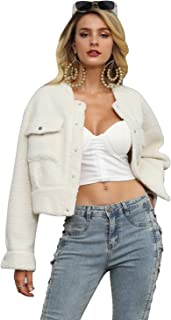 Glamaker Women's Long Sleeve Faux Fur Button Up Shearling Fleece Short Jacket Wool Coats with Pockets