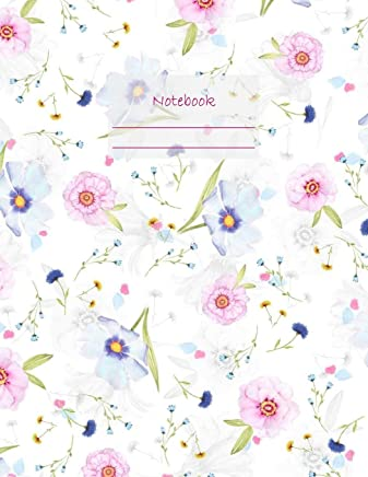 Notebook: Large notebook with 120 Lined pages. Wide ruled. Ideal for School notes, Journaling, Hand lettering, Calligraphy practice. Perfect gift. 8.5' x 11.0' (Large). (Flowers pattern cover).