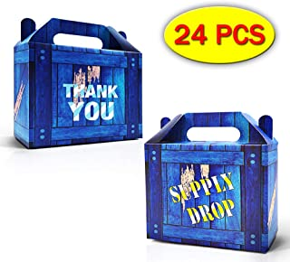 Palksky Game Party Box - Classic Blue Supply Drop Box For Video Game Birthday Party Gift Bags Supplies Favors supply drop party bags(24 Pack)