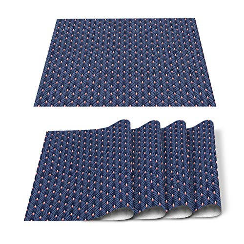 Roses Garden Placemats for Dining Table Set of 6, Navy Blue Griadel Leaves Place Mat Washable Polyester Heat-Resistant Kitchen Table Mat for Home Decorations