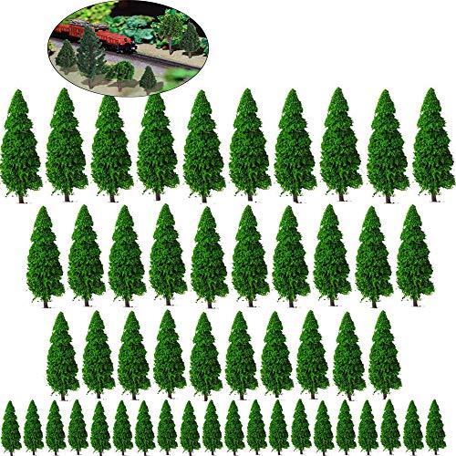 Xinlie Modellbau Bäume h0 Bäume Tabletop Gelände Modell Bäume Mixed Modell Baum Zug Bäume Eisenbahn Landschaft Diorama Baum Architektur Bäume Grün Mini Baum Set Modell Bäume für DIY Landschaft 50Stück