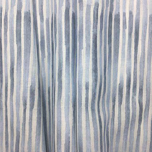 Tela por metros de cortina - Visillo estampado digital - 50% algodón, 50% poliéster - Ancho 300 cm - Largo a elección de 50 en 50 cm | Rayas - Azul, blanco