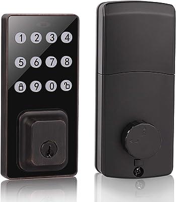 Probrico Smart Keypad Deadbolt Lock Keyless Keypad Entry Door Lock with 100 Codes, Easy to Install and Program, Electronic Deadbolt with Auto-Lock for Home Office, Black