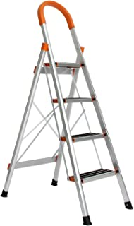 sogesfurniture 4 Step Ladder Folding Stepladder Aluminum Step Ladder Folding Platform Stool 300 lbs Load Capacity Lightweight Multi Ladder Home Ladder,BHUS-KS-JF-004