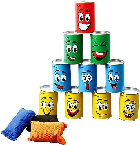 Ulifeme Chamboule Tout, Jeux de Plein Air pour Enfant & Adulte, Jeux Exterieur avec 10pcs Sourire Boite de Conserve M...