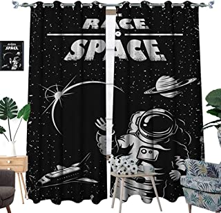 Warm Family Astronaut Blackout Window Curtain The Race to Space Retro Image with Space Crafts Planets Astronaut vs Cosmonauts Customized Curtains W108 x L96 Black White