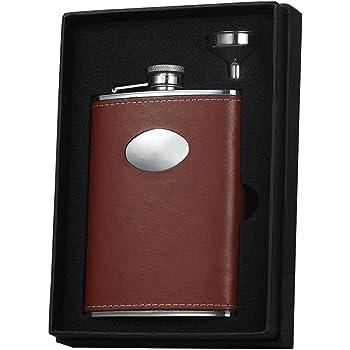 Amazon Com Visol Holiday Essential Ii Wrangle Brown Leather Liquor Flask Gift Set 8 Oz Silver Flasks