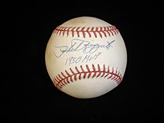 Signed Phil Rizzuto Ball - 1950 MVP Single Official AL Brown Pres w hologram - Autographed Baseballs