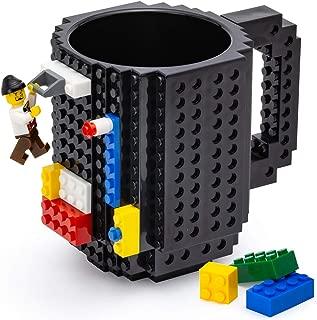 TOYAMBA Build-on Brick Mug, Black Coffee Cup with Building Blocks