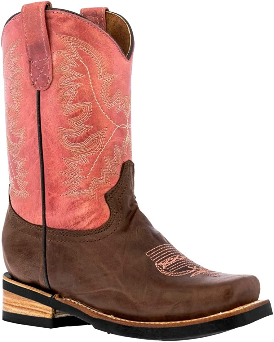 Kids wholesale Pink Western Cowboy Boots Stitched Toe Dallas Mall Tod Leather Square 7