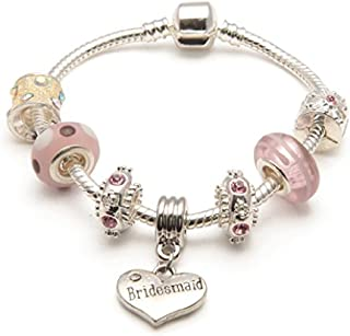Liberty Charms Bridesmaid 'Vanilla Kisses' Silver Plated Charm/Bead Bracelet