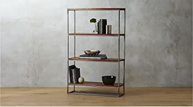 Aprodz Solid Wood and Steel Steelo 4 Tier Bookcase for Living Room | Book Rack | Brown Finish