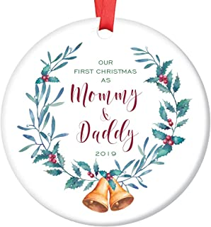 New Mommy & Daddy 1st Christmas Ornament 2019 Pretty Holly & Bells Wreath Ceramic Keepsake Present to First Time Parents Infant Son Daughter Baby 3