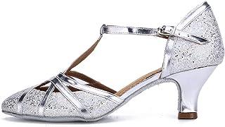 Mujeres&Niña Zapatos Latinos de Baile Zapatillas de Baile de salón Salsa Tango Performance Calzado de Danza,Modelo ESCMJ51