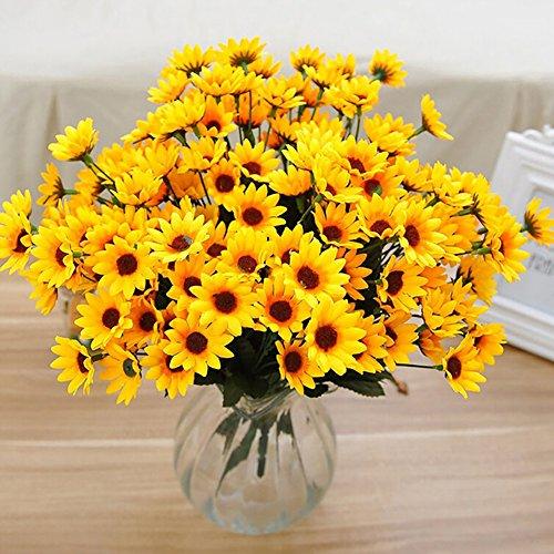 XdiseD9Xsmao 1 bos bloemen 15 hoofden 7 takken natuurzacht kunstzijde zonnebloem Home Party Decor Geef een festival een bijzondere sfeer geel