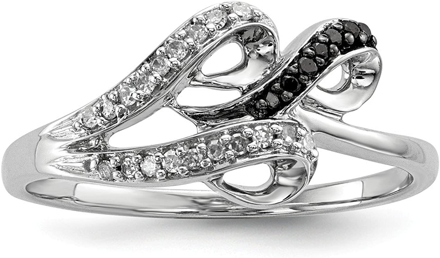 925 Sterling Silver Black and White Round Diamond Anniversary Ring For Women (0.1ct)