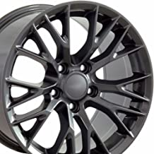 OE Wheels 18 Inch Fits Chevy Corvette Camaro Pontiac TransAm C7 Z06 Style CV22 18x10.5/17x9.5 Rims Gunmetal SET