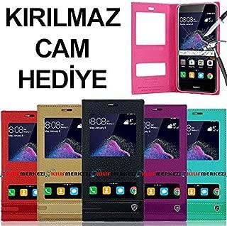Huawei P9 Lite 2107 Kılıf Pencereli Elite Modeli + P9 Lite 2017 Temperli Cam Koruyucu