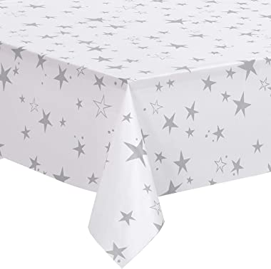 "Nice Kitchen 12 Pack Plastic Tablecloths for Rectangle Table, Disposable Table Cloth Cover, White and Grey Cute Star, 54""x108"""