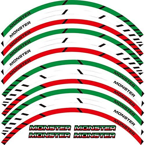 Luyangyund Un Conjunto de calcomanías de Rueda de Motocicleta 12 unids Impermeable Reflectante Pegatinas Ramas de llanta para Ducati Monster 695 696 1100 1100 (Color : Red Green)