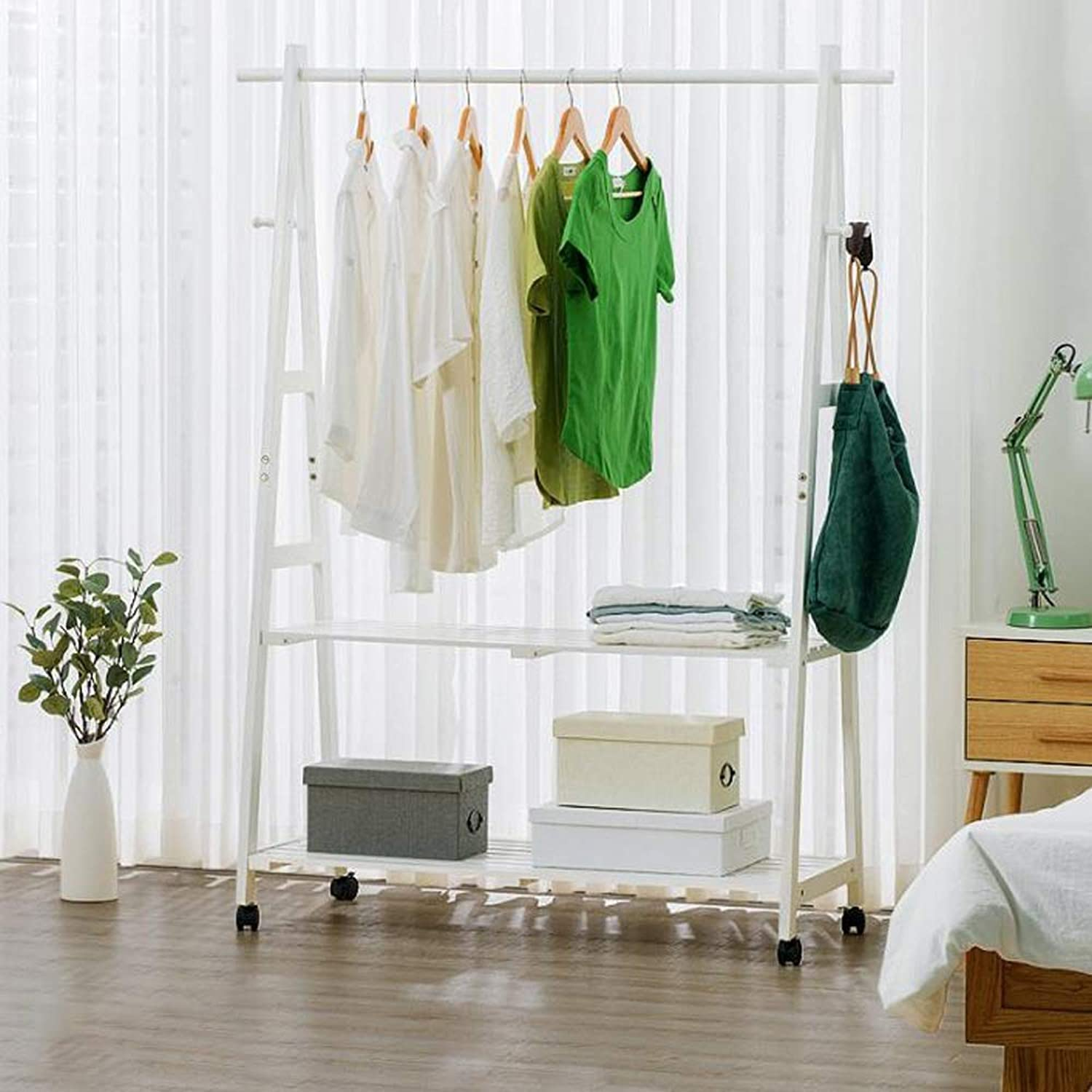 Coat Rack, 2 Tier Hat and Coat Stand,Coat Rack, shoes Rack with Wheels and 2 Shelves in Wood Look, 4 Hooks, Wood Frame (color   White, Size   60  45  149CM)