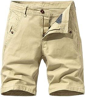 waitFOR Mens Summer Solid Color Stretch Combat Knee Length Cargo Shorts Casual Elastic Waist Work Shorts for Men Plain Sli...