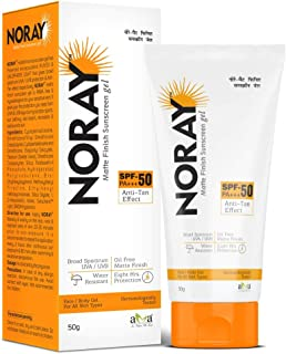 Noray Matte Finish Broad Spectrum Sunscreen gel, SPF-50, PA+++ with Anti Tan Effect - 50g.