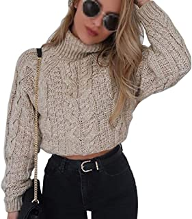 Pevor Womens Casual Turtleneck Long Sleeve Chunky Fall Winter Pullover Jumper Knited Sweater Crop Tops