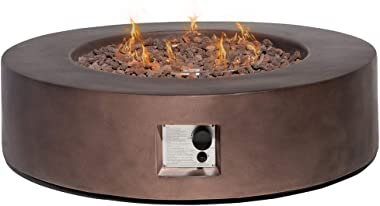 HOMPUS Propane Patio Fire Pit Table, Lava Rocks and Rain Cover for Outdoor Leisure Party,50,000 BTU 42-inch Round Bronze Concrete Fire Table