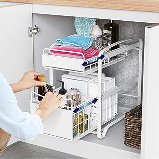 HUIJ sous évier étagère sous Evier Rack etagère de Rangement Cuisine Acier Coulissants Conception De Rouleaux Et De Tiroir...