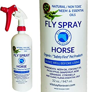SIT. STAY. FOREVER. SAFETY FIRST PET PRODUCTS Organic Neem & Essential Oils Bug Spray for Horse. 32oz Non-Toxic.Made in The USA