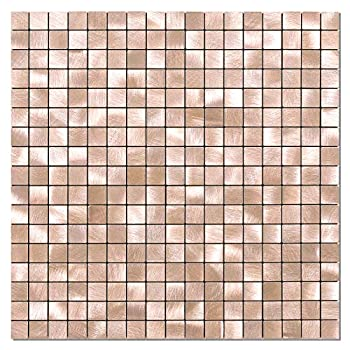BeNice Metal Kitchen Backsplash,Wall Tiles Peel and Stick Adhesive Fireplace Mosaic Tiles Square 5sheets Rose Gold Copper