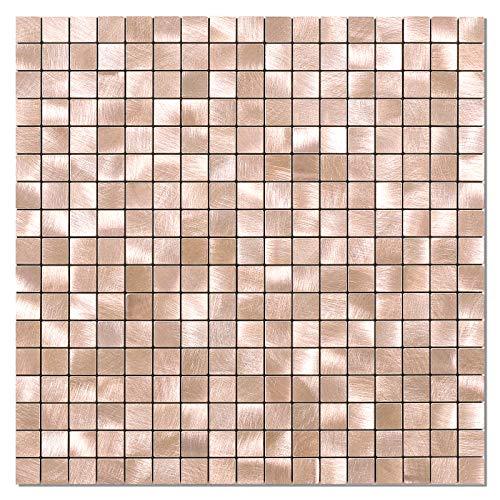 BeNice Pegatinas De Azulejos De Metal Para Cocina, Autoadhesivas, Mosaicos De Pared, Azulejos De BañO, Pelar Y Pegar, 26.5 X 26.5cm, 5piezas Oro Rosado