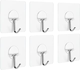DILISS Adhesive Wall Hooks Wall Hangers Without Nails 15 pounds (Max) 180 Degree Rotating Heavy Duty Seamless Scratch Hooks for Hanging Bathroom Kitchen Office (10 Pack)